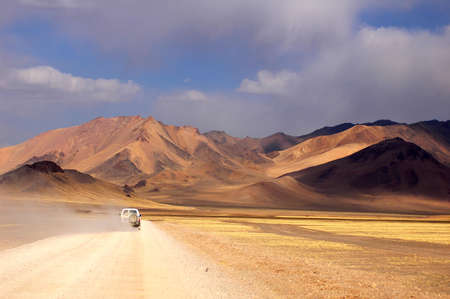 Landscape of offroad driving in the highlands of Tibet