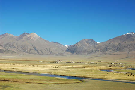 Landscape of mountains and pasture in Tibet photo
