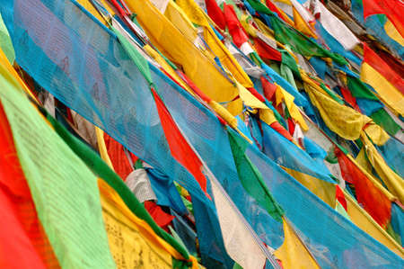 monasteries: View of colorful buddhist prayer flags in Tibet  Stock Photo