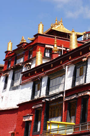 lamaism: Landmark of a famous historical lamasery in Tibet Stock Photo