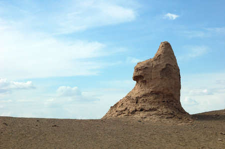 ancient relics: Landmarks of ruins and relics of an ancient castle in the desert which looks like Sphinx