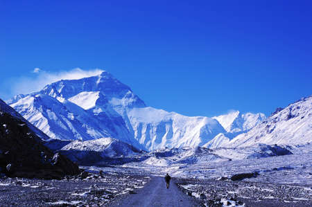 Landscape of Mount Everest from the north face in Tibet China Stock Photo - 9281791