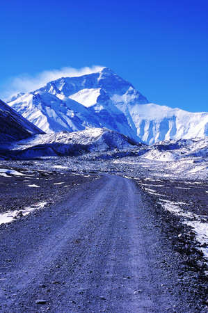Landscape of Mount Everest from the north face in Tibet China photo