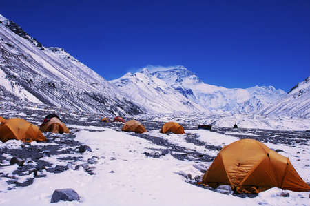 everest: Landscape of Mount Everest from the north face in Tibet China
