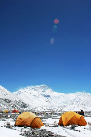 everest: Landscape of Mount Everest from the north face Stock Photo