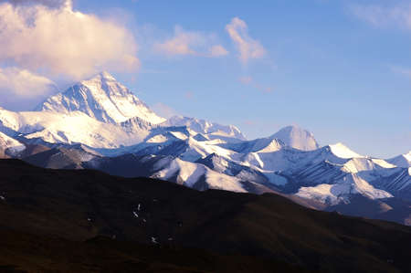 highest: Distant view of the highest peak Mount Everest Stock Photo