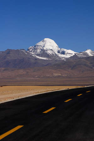 Landscape of snow-capped mountains in the highlands of Tibet photo