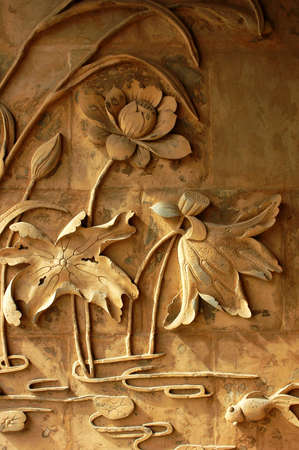lotus temple: Ancient brick carving art of lotus flowers Stock Photo