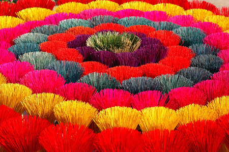 Colorful joss sticks for buddhist prayers in Vietnam