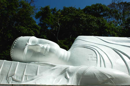 Closeup view of a giant lying buddha sculpture with green trees as background photo