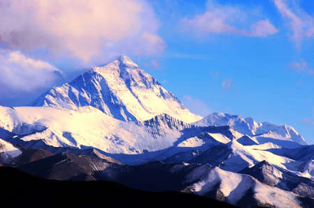 Landscape of Mount Everest from the north face in Tibet, China Stock Photo
