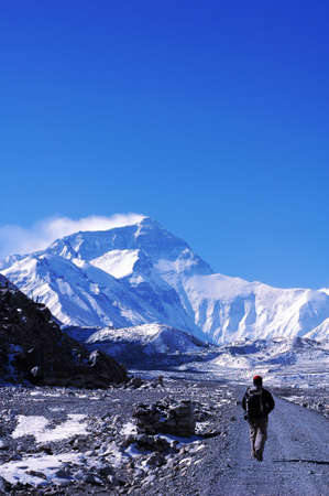 Landscape of Mount Everest from the north face in Tibet, China photo