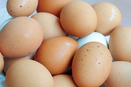 dozens: Dozens of fresh eggs in a pile  Stock Photo