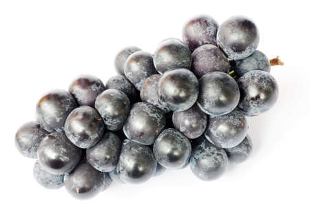 Closeup view of ripe purple grapes on a white background photo