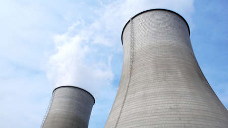 cooling towers: View of the huge water towers in a heat power plant