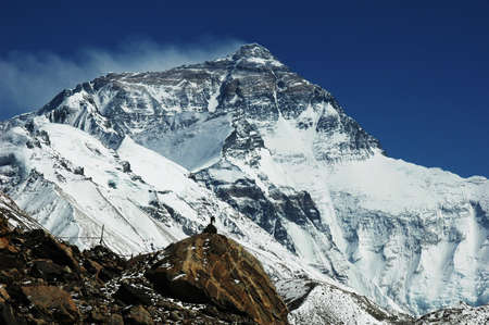 Landscape of Mount Everest from the Base Camp at the north face in Tibet photo