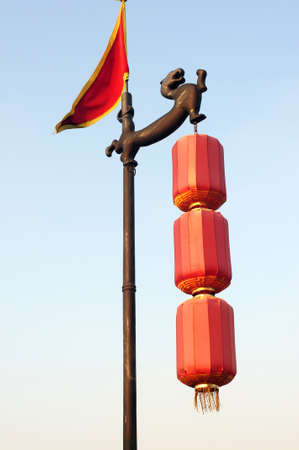 made in china: Chinese traditional red lanterns on the city wall of Xian, China