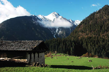 Landscape of snow-capped mountains and green meadows with a hut photo
