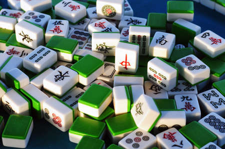 chinese characters: Traditional Chinese mahjong tiles Stock Photo