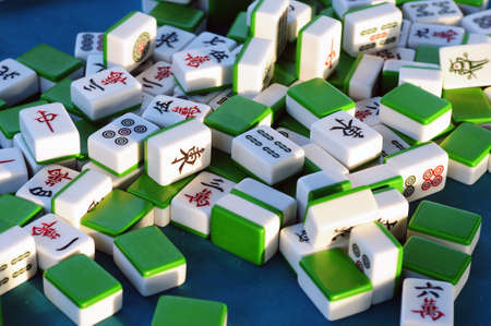 mahjong: Traditional Chinese mahjong tiles Stock Photo