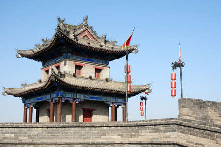Landmark of the famous ancient city wall of Xian, China photo