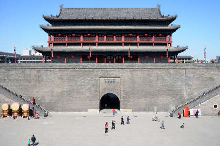 chinese wall: Landmark of the famous ancient city wall of Xian, China Stock Photo