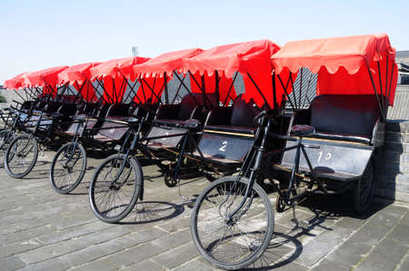 urban transport: Rickshaws in the famous ancient city of Xian, China