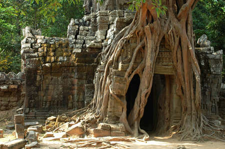 bayon: Ruins and relics in the famous site of Angkor Wat, Cambodia