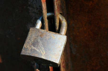 Closeup view of an old lock on an iron door Stock Photo - 11312846
