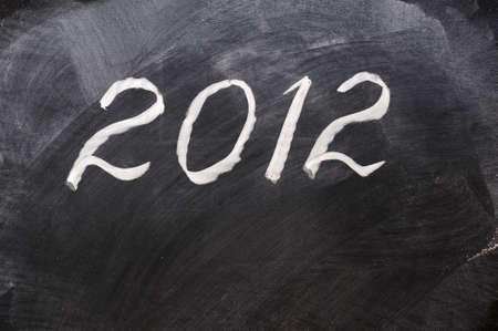 projet: Handwriting of Year 2012 on a blackboard Stock Photo