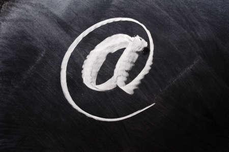 lacunae: Symbol of internet written on blackboard