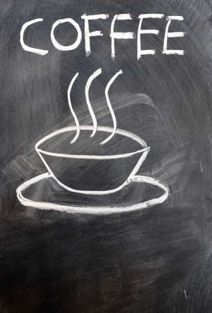 coffee time: Coffee cup and word written on a blackboard Stock Photo