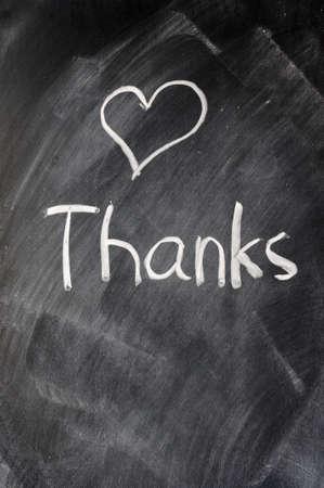 appreciation: Handwriting of Thank you on a blackboard