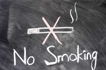 No smoking written on blackboard photo