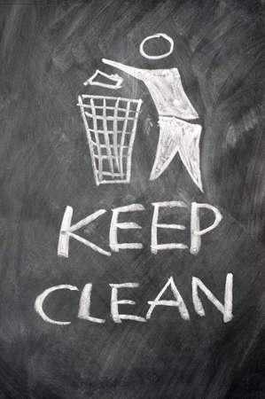 Keep clean sign drawn on a blackboard photo