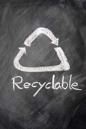 environmental awareness: Recyclable sign drawn on a blackboard