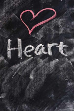 Shape and word of Heart on a blackboard photo