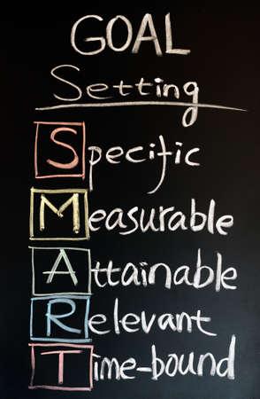 Goal setting SMART written with chalk on a blackboard photo