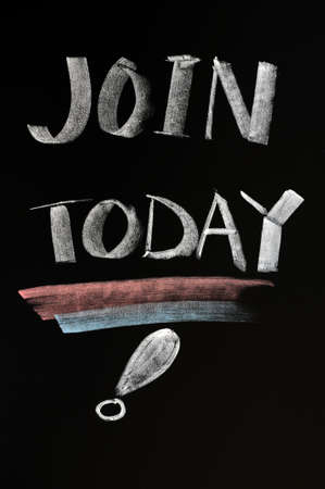 join now: Concept of join today written with chalk on a blackboard