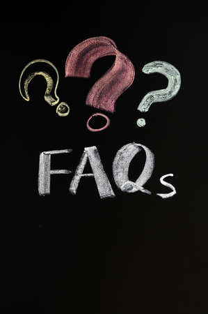 FAQ concept with question marks on a blackboard Stock Photo - 11690880