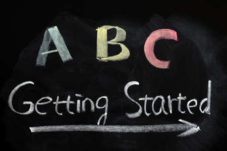 getting ready: Getting started with ABC concept on a blackboard Stock Photo