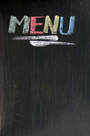 blankness: Menu written with chalk on a blackboard Stock Photo