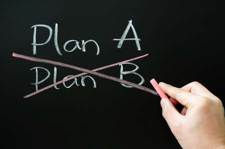 Crossing out Plan B and choosing Plan A on a blackboard photo