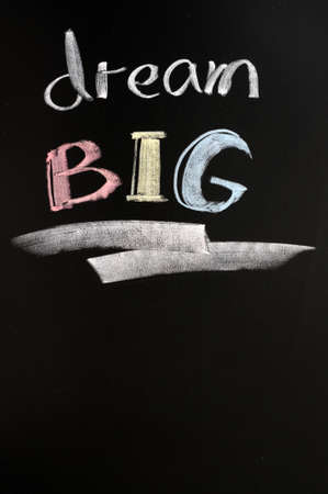 Dream big text written with chalk on a blackboard photo