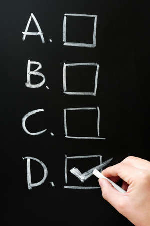 the concept is correct: Four checkboxes on blackboard with D checked