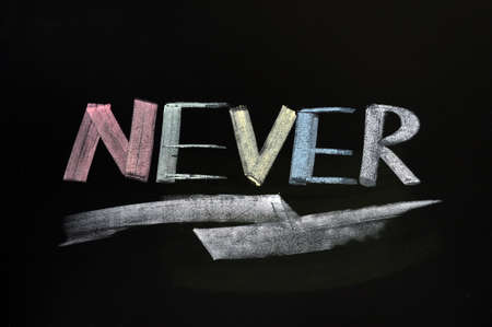 never: Never - word written in colorful chalk on a blackboard