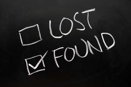 found: Lost and found check boxes written with chalk on a blackboard