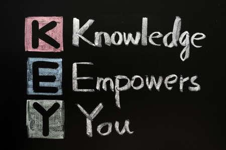 tanulás: KEY rövidítés - Knowledge feljogosítja Önt egy táblára írt szavak kréta Stock fotó