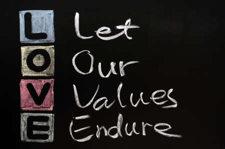 endure: LOVE acronym, Let our values endure on a blackboard with words written in chalk