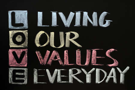 our: LOVE acronym, Living our values everyday on a blackboard Stock Photo